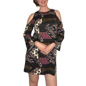 Beige ECI Cold Shoulder Long Sleeve Jersey Dress